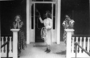 Nancy Terry (center) on Mt View Hotel porch